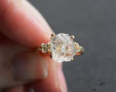 Raw Diamond Ring Natural Rough Uncut Gemstone Engagement by Avello