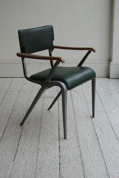 James Leonard; Enameled Metal, Wood and Vinyl 'Master's Chair', c1950.