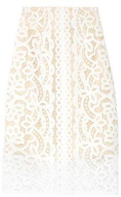 LOVER Poppy macramé-lace pencil skirt