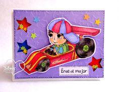 Silvia Scrap: Tutorial 33 en Latinas Arts & Crafts: Shaker Card Masculina. Digi:Jamie Race Car Driver de Lacy Sunshine