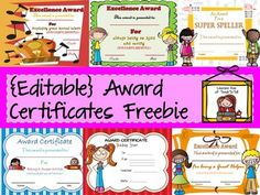 Reward your students with this pack of 8 editable award certificates featuring cute clip art, meaningful messages and attractive backgrounds. ** All awards are editable. You can change the award title and award messages.In this pack, you will find awards for:* Super Writer* Super Speller* Perfect Attendance* Math Wizard* Musical Talent* Kind and Caring* Super Star Boy* Super Star Girl** This is a PowerPoint file with secured images, however you can personalize each award with your own ...