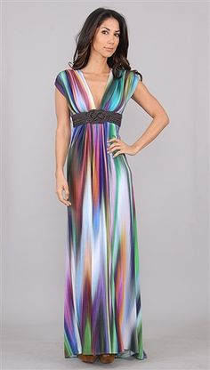 Sky Multi Color Jadina Long Dress with Leather <-- Needs a tank top under it or something, but the colors!! <3