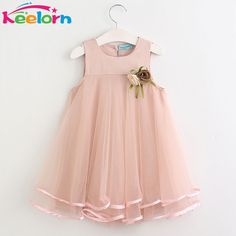 6.59$  Buy here - Keelorn Girls Dress 2017 Brand Princess Dresses Sleeveless Appliques Floral Design for Girls Clothes Party Dress 3-7Y   #bestbuy