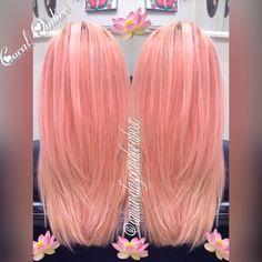 Coral hair pastel hair hair by Amanda Glenn - All For Hair Color Trending Coral Hair Color, Cute Hair Colors, Bright Hair Colors, Pastel Coral Hair, Pink Peach Hair, Nails Yellow, Unnatural Hair Color, Blond, Corte Y Color