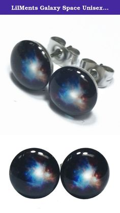 LilMents Galaxy Space Unisex Mens Womens Stainless Steel Stud Earrings. One pair of stylish stainless steel stud earrings. Butterfly earrings backs. 9.5mm Diameter.