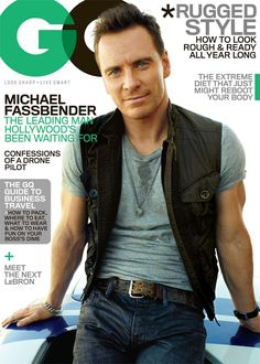 Michael Fassbender shows off his bulging arms on the cover of GQ magazine's November 2013 issue, out on newsstands on October Michael Fassbender, Gq Magazine Covers, Long Relationship, Rugged Style, Man Style, Ralph Lauren, James Mcavoy, Actors, Manish