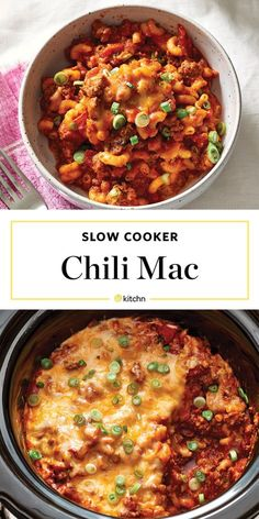 Slow Cooker Chili Mac and Cheese Recipe. Need recipes and ideas for comfort foods to make for weeknight dinners and meals? This is perfect for cold weather cooking in your crockpot. Easy to make and great for families. You'll need onions, ground beef, spices, canned diced tomatoes, kidney beans, tomato paste, beef broth, elbow macaroni noodles or pasta of choice, shredded cheddar and monterey jack cheese, scallions.