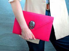 Vegan Leather Envelope Clutch with Skull Clip - Rose Pink Purse Bag Handbag - Women Ladies - Handmade. $12.98, via Etsy.