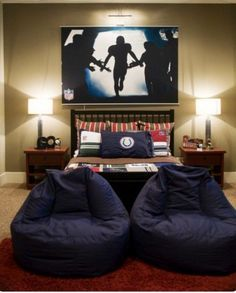 This but without the bean bags and replace the NFL poster with a star wars or All Blacks poster