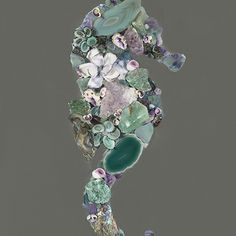 Amethyst & Seafoam Gemstone Seahorse · Shell Designs · Online Store Powered by Storenvy Sea Glass Crafts, Sea Glass Art, Seashell Art, Seashell Crafts, Shell Animals, Mosaic Rocks, Jewelry Art, Antique Jewelry, Stones And Crystals
