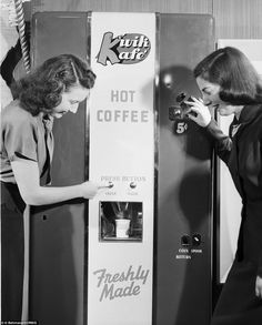 The World's Oldest and Oddest Vending Machines You Never Knew Existed - This coffee machine was released by the National Automatic Merchandising Association at the World's Fair Of Vending Machines, Coffee Machine, Coffee Maker, Coffee Mugs, Ice Cream Vending Machine, Juke Box, Coffee Vending Machines, Can Of Soup, Pint Of Beer, Buy Stamps