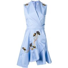 Carven flared wrap dress ($835) ❤ liked on Polyvore featuring dresses, blue, flared hem dress, flare dress, blue dress, flared dresses and blue fit-and-flare dresses