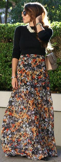 Brushstrokes Black Floral Print Maxi Skirt