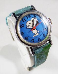 RARE Vintage 1958 Snoopy Light Blue Moving Arms Watch w Original Light Blue Band   eBay