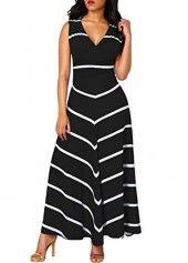Cutout Back V Neck Printed Navy Maxi Dress | Rotita.com - USD $34.88