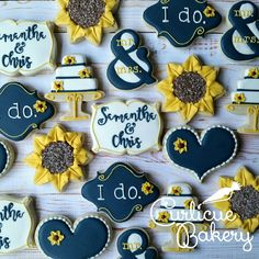 Navy and sunflowers themed decorated sugar cookies for rehearsal dinner or wedding wedding cookies Yellow Wedding, Fall Wedding, Rustic Wedding, Our Wedding, Dream Wedding, Wedding Ideas, Trump Wedding, Wedding Stuff, Wedding Snacks