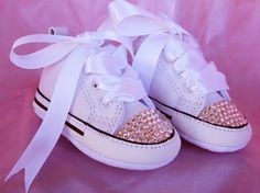 SIMPLY CRYSTALS Baby Girl Converse Sneakers for a keepsake, Baptism, Christening, Wedding, or Baby Shower by angelareesestudio on Etsy, $59.95