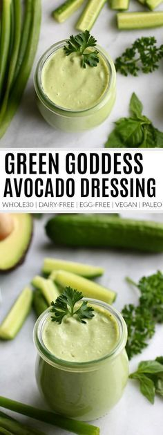 Green Goddess Dressing Avocado Dressing Dairy-Free Dressing Vegan Avocado Dressing Egg-Free Avocado Dressing Paleo Avocado Dressing Recipe Healthy Dressing Recipe The Real Food Dietitians Guacamole, Vegan Avocado Dressing, Green Goddess Dressing Recipe Avocado, Paleo Dressing, Green Goddess Recipe, Green Goddess Salad Dressing, Vinaigrette Dressing, Lime Dressing, Dairy Free Eggs