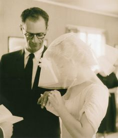 Marilyn Monroe and Arthur Miller on their wedding day. Photo by Milton Greene, 1 July, Marilyn Monroe Wedding, Milton Greene, Old Hollywood Stars, Hollywood Style, Norma Jeane, Celebrity Weddings, American Actress, Movie Stars, Wedding Day