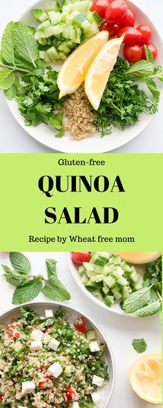 Quinoa Salad Gluten Free Quinoa Salad, Cold Quinoa Salad, Salad Recipes Gluten Free, Quinoa Salad Recipes, Salad Dressing Recipes, Lunch Recipes, Summer Recipes, Quinoa Health Benefits