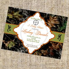 Camo Baby Shower Invitation, Camo Baby Shower Invite, Printable Invitation, Camo Baby Shower, Browning + FREE Matching Thank You Card on Etsy, $7.95