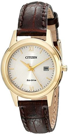 Women's Wrist Watches - Citizen EcoDrive Womens Stainless Steel Watch with Brown Band Model FE108205A *** See this great product.