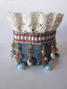 Beaded denim cuff bracelet with lace trim. At onemomentgone etsy.