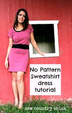 No Pattern Sweat Shirt Dress