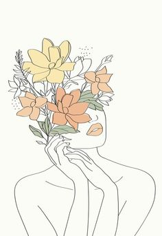 Art Painting, Line Art Drawings, Abstract Line Art, Outline Art, Art, Flower Line Drawings, Painting Art Projects, Canvas Art, Art Wallpaper