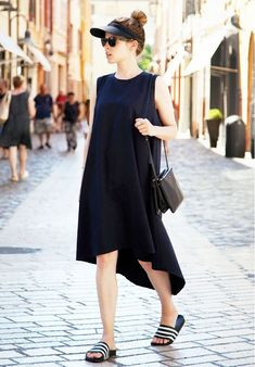 t-shirt dress + slip-on sandals
