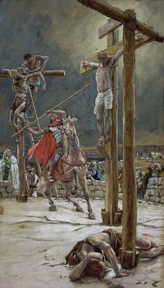 One of the Soldiers with a Spear Pierced His Side by James Tissot {c.1886-94} ~ Jesus