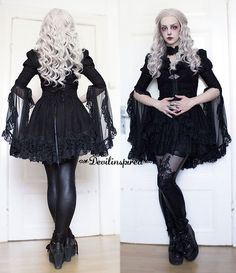 The gothic outfit fit the grey hair perfect!  Love your makeup babe @manicmoth !!  Outfit Code: LG-031  Wig from @evahairofficial ➡www.devilinspired.com #devilinspiredofficial #lolita #lolitafashion #devilinspired #wig #gothic #makeup