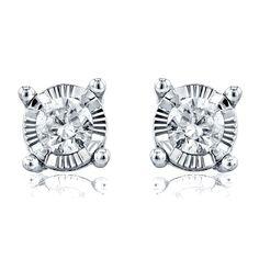 Annello by Kobelli 14k Gold 1/6ct TDW Diamond Illusion Stud Earrings