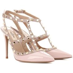 Valentino Rockstud Patent Leather Pumps (€855) ❤ liked on Polyvore featuring shoes, pumps, pink, pink patent leather shoes, pink patent leather pumps, pink shoes, valentino shoes and patent pumps