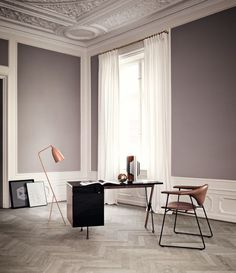 GUBI // Masculo chair, Grossman desk and Gräshoppa floor lamp
