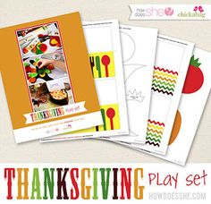 Free Printable Thanksgiving Play Set:  Are you hosting little ones at your Thanksgiving dinner? If so, I designed a special printable kit that's just for you! It's 25 pages of printables and sewing patterns that you can use to create fun craft activities, so kids can keep themselves entertained at the table
