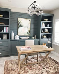 home office with rustic farmhouse desk and gray built-ins, built in cabinets in home office design and open shelf styling in home office Home Office Colors, Home Office Space, Home Office Design, Home Office Furniture, Home Office Decor, Home Decor, Home Office Lighting, Basement Home Office, Home Office Cabinets