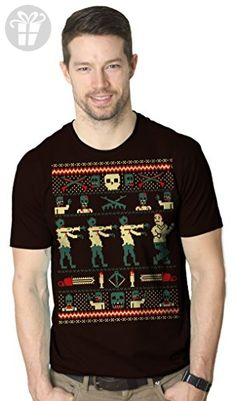Zombie Ugly Sweater T Shirt Funny Christmas Shirt Undead Xmas Tee (brown) L - Birthday shirts (*Amazon Partner-Link)