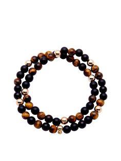 Men's 14K Gold Collection, Skull Bead, Tiger Eye, Matte Onyx | Nialaya Jewelry