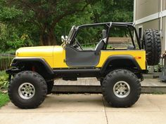 Photo of Custom Yellow Jeep Cj Jeep, Jeep Mods, Jeep Cj7, Jeep Truck, Jeep Wrangler, Jeep Rubicon, Jeep Store, Customised Trucks, Woodworking