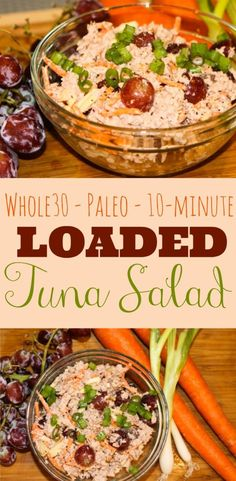I whipped up this Whole30 & Paleo Tuna Salad on my lunch break. It's so simple and chock-full of flavor and healthy goodness with grapes, carrots & almonds.
