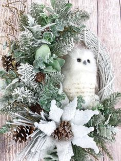 Owl Wreath for Front Door White Winter Wreath Christmas image 6 Owl Wreaths, Holiday Wreaths, Wreaths For Front Door, Baseball Wreaths, Sports Wreaths, Baby Owls, Christmas Images, Summer Wreath, Winter White