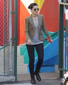 Brown blazer/neutral blazer, striped top, motorcycle boots/black boots (Sandra Bullock)