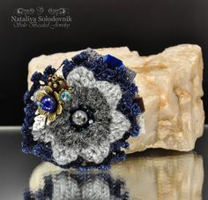 "Brooch, textile brooch, flower brooch,brooch boho, a gift for nee- ""Abbigeyl"" by SoloBeadedJewelry on Etsy"