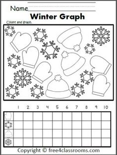 Free Winter Graphing Worksheet. Fun for preschool, Kindergarten, and 1st grade.