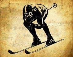 Ice Skiing Sports Clipart Illustration Instant by BackLaneArtist