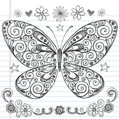 Sketchy Hand-Drawn Butterfly Notebook Doodles by blue67 - Stock Vector