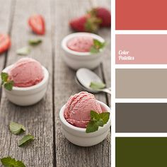 beige, brown, color of ice cream, color of mint, color of strawberry ice cream, color of wood, dark gray, dark green, green, green khaki, pastel shades, peach, Red Color Palettes, shades of gray-brown, warm shades.