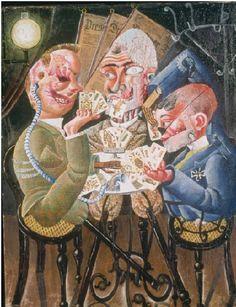 Les joueurs de skat, Otto Dix, 1920. Le tableau (huile et collage sur toile) représente trois anciens combattants mutilés de la Première Guerre mondiale (des gueules cassées) jouant à un jeu de cartes, le skat, très populaire en Allemagne. Il fait partie d'une série de quatre tableaux peints en 1920  : La Rue de Prague, Le Marchand d'allumettes, Les Joueurs de skat, et La Barricade