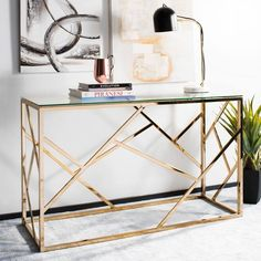 Safavieh Namiko Clear/Brass Console Table – The Home Depot – Decorating Foyer Modern Console Tables, Decor, Furniture Deals, Furniture, Glass Console Table, Sofa End Tables, Coffee Table, Brass Console Table, Living Room Furniture